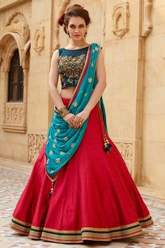Georgette+Red+Border+Work+Semi+Stitched+Lehenga+-+FL001 at Rs 2499