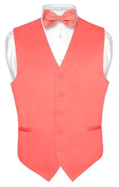 Men's Dress Vest BOWTie CORAL PINK Bow Tie Set for Suit or Tuxedo Medium