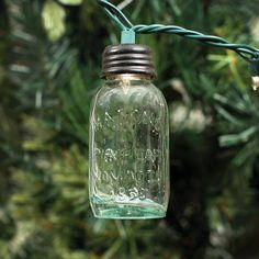 Glass Mason Jar Ornament For Christmas Lights