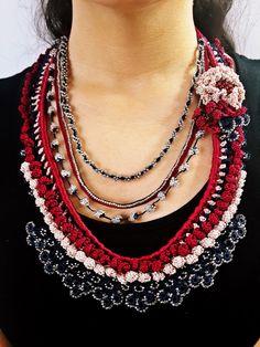 Handmade crochet necklace,beaded crochet necklace,elegant necklace,crocheted lace necklace, freeform necklace, gift ideas, beadwork necklace by SESIMTAKI on Etsy https://www.etsy.com/listing/218179308/handmade-crochet-necklacebeaded-crochet
