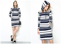sweatshirt dress with hoodie,long sleeve,stripe,short length,casual,comfortable,chic,fashion,for spring and autumn.--E0200