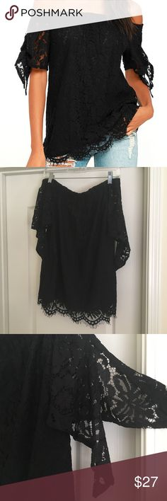 Lulu's Ethereal Lace Off Shoulder Top Size S Beautiful layered lace off shoulder top. Brand new condition, I only removed the tags. Lulu's Tops