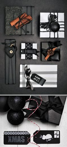 Elegant Halloween and Christmas Gift Wrapping // idées emballages cadeaux, black and white wrapping, packages, gifts Wrapping Ideas, Creative Gift Wrapping, Present Wrapping, Creative Gifts, Paper Wrapping, Elegant Gift Wrapping, Black Christmas, Christmas Diy, Beautiful Christmas