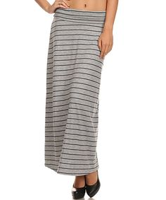 Look what I found on #zulily! Gray & Navy Stripe Maxi Skirt - Women by Pretty Young Thing #zulilyfinds