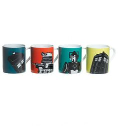 This fabulous set of 4 Mugs comes presented in a decorative gift box and consists of a two TARDIS mugs, a Dalek mug and a Cyberman mug. A great find for any fan of the cult TV show which has spanned many decades! Doctor Who Mug, 4th Doctor, Doctor Who Tardis, Dalek, Geek Out, Dr Who, Mugs Set, Geek Stuff, Comics