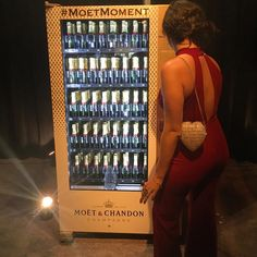 Great branding and sponsorship idea! Popular #Moet champagne vending machine at #WeinsteinCo and #Netflix #GoldenGlobes party in #LA. #moetmoment