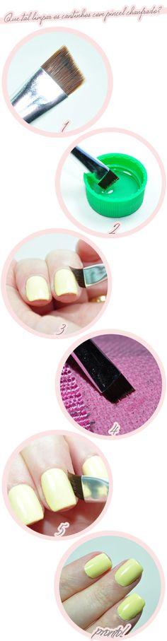 Para limpar o excesso de esmalte, às vezes um pincel fininho de maquiagem – que é reutilizável – é mais eficaz do que enrolar algodão no bastãozinho de madeira. | 11 receitas de spa caseiro para fazer em casa na próxima folga