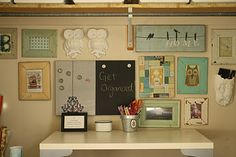craft room- love the color palette for the wall decorations