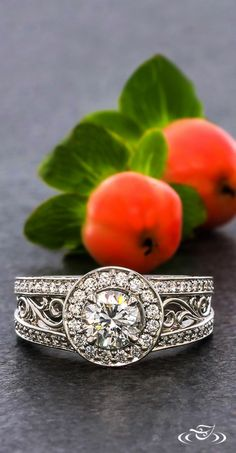 Bead Set Halo And Filigree Engagement Ring #GreenLakeJewelry