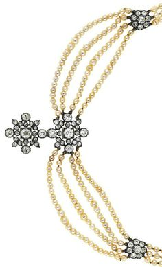 A late 19th century diamond and pearl necklace. #antique necklace