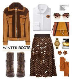 """""""So Cozy: Winter Boots"""" by hamaly ❤ liked on Polyvore featuring Chloé, Prada, Coach, Krewe, Michael Kors, Yochi, UGG, Dolce&Gabbana, Yves Saint Laurent and outfit"""
