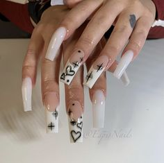 Acrylic Nails Coffin Pink, Long Square Acrylic Nails, Simple Acrylic Nails, Edgy Nails, Grunge Nails, Swag Nails, 00s Mode, Drip Nails, Luxury Nails