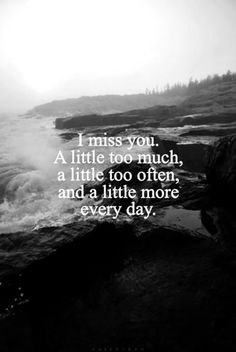 """I miss you. A little too much, a little too often, and a little more everyday."""