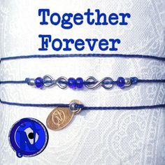 """<b>Thread:</b>Navy Blue<b>Colored Glass Beads:</b>Cobalt Blue, Silver Metallic<b>Forever Charms:</b> Silver Plate<b>Tag:</b> NTIO (brass)<b>Size:</b> Fits All<b>Close-up Photo:</b> Not Actual SizeOur special """"forever"""" thin chord is color fast and waxed to make it super strong and water resistant. Wear it in the shower or the pool.  The brass tag is hand stamped with the NTIO Logo on one side and bracelets that support an <b>Artist, Band, Cause, Designer, Event or Group</b> can show their…"""