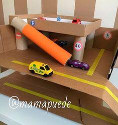 DIY parking with recycled material - Car village - . - DIY parking with recycled material – Car village – – - Recycled Toys, Recycled Crafts, Video Game Crafts, Toy Garage, Kids Crafts, Cardboard Crafts, Diy Car, Toddler Activities, Outdoor Activities