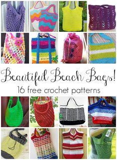 Beautiful Beach Bags! 16 Free Crochet Patterns, roundup on Fiber Flux