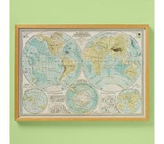 Kids' Posters, Prints & Art: Kids World Hemispheres Map Wall Art