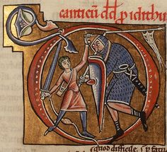 Manuscript Bible, 1175, France. National Library of the Netherlands (David and Goliath)