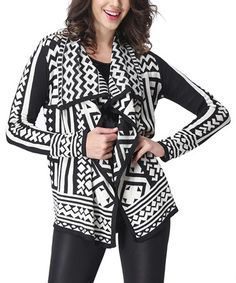 This Black & White Tribal Drape Cardigan by Simply Couture is perfect! #zulilyfinds