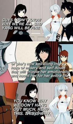 No wonder Ren doesn't talk much. Painful truths are called that for a reason Ren! Rwby Anime, Rwby Fanart, Anime Meme, Red Like Roses, White Roses, Neon Katt, Otaku, Rwby Bumblebee, Rwby Memes