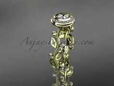 14k yellow gold diamond leaf and vine wedding ring, engagement ring ADLR212
