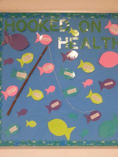 Hooked on health bulletin board (for school nurse). Fish have health tips on t. - Hooked on health bulletin board (for school nurse)… Fish have health tips on them. Health Bulletin Boards, Nurse Bulletin Board, Office Bulletin Boards, Summer Bulletin Boards, Office Boards, School Nurse Office, School Nursing, School Cafe, Nurse Decor