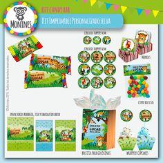 Monines Diseño: Selva Kit imprimible personalizado (decoración + candy bar + cajitas)