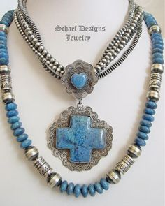 Schaef Designs Denim Lapis & Sterling Silver Square Cross Heart Pendant   Southwestern Native American & turquoise jewelry   New Mexico