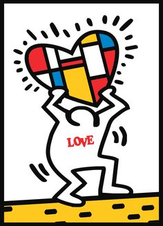 Art teacher Ricky Talkington at Collins Middle School in Corsicana Texas combined the styles of Keith Haring and Piet Mondrian for this cool Valentine's  Day Art Project.