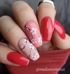 Tulip Nails, Rose Nails, Flower Nails, Gel Nails, Cherry Nail Art, Cherry Blossom Nails, Diy Nail Designs, Nail Designs Spring, Rose Nail Design