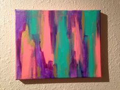 Abstract Painting - Coral, Gold, Turquoise & Purple. 8x10 Canvas. Acrylic. Original Painting.