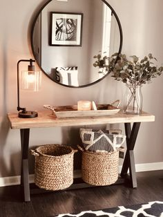 Finally completed my entryway makeover! Home Living Room, Living Room Decor, Bedroom Decor, Living Room Designs, Entryway Decor, Entrance Decor, Entryway Ideas, Cozy House, Home Decor Inspiration