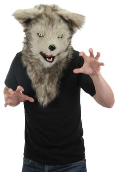 Mens Ladies Faux Fur Fox Mask with Moving Jaw Animal Fancy Dress Costume Outfit
