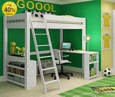 Decoração // Modelo de Móveis // Quarto para Menino // Tema: Futebol // Cores: Verde e Amarelo // Moderno