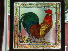 Rooster Stained Glass Panel | Sunflower Glass Studio | Sunflower Glass Studio | Fused Glass Windows