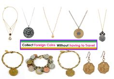 """""""Foreign coin collection"""" -Foreign coins and Authentic vintage NYC Peep Show tokens hanging from delicate gold chains and bracelets, we promise you will be a showstoppers about town.Find all these Amazing Coin jewelry at my online Boutique """"Tropical Goddess"""". And don't forget to add me on Facebook to keep up with the latest Trends and Sales! - https://www.facebook.com/miami.tropicalgoddess"""