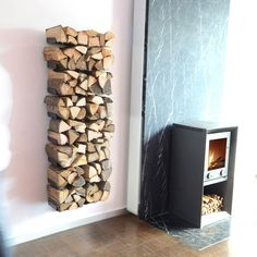 (54) Fancy - Wooden Tree Firewood Shelf