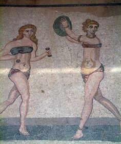 Roman Women Exercising. Mosaic From Villa Romana del Casale outside the town of Piazza Armerina, in Central Sicily. Mosaic may have been made in the 4th century A.D. by North African artists.  CC Photo Flickr User liketearsintherain