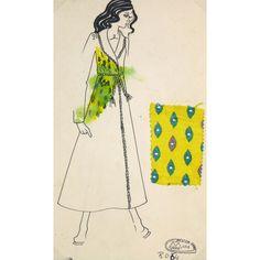 Corine Marie Fashion Sketch, C. 1980 #huntersalley. French fashion sketch from Paris fashion house Création Corine Marie, circa 1980. Includes an original fabric swatch.