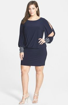 86227767621 Xscape Matte Jersey Blouson Dress with Beaded Cuffs (Plus Size) available  at  Nordstrom