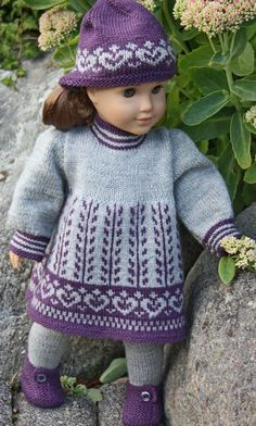 Anne Lise knitting pattern for American Girl doll Knitting Dolls Clothes, Ag Doll Clothes, Crochet Doll Clothes, Knitted Dolls, Doll Clothes Patterns, Clothing Patterns, Doll Patterns, Knitting Toys, Knitted Baby