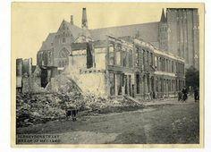 Terheijdenstraat in 1940 (na bombardement). Op de achtergrond de Sint Josephkerk.