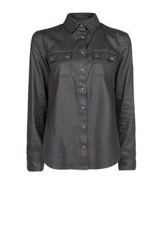 MANGO - CLOTHING - Coated black shirt