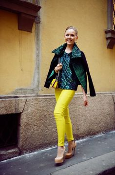 5. Forest Green Jacket With Yellow Jeans 2017 Street Style