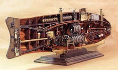 Scale Model Gallery - Ictineo II - World's First Steam Powered Submarine (1864) - Inner Section Viewed from Stern