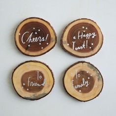 Keep the toasts coming with these Shanna Murray Coasters from West Elm Diy Coasters, Wooden Coasters, West Elm, Inexpensive Christmas Gifts, Holiday Essentials, Fall Projects, Diy Projects, Baked Apples, Wood Slices