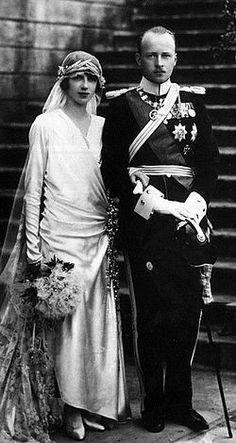 Princess Mafalda and Philipp, Landgrave of Hesse-Kassel, grandson of German Emperor Frederick III, on their wedding day, 23 September 1925