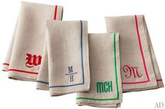 Colorful Monogramed Linen Napkins, Six Great Colors. (The Best Summer Gift Ideas from AD.)