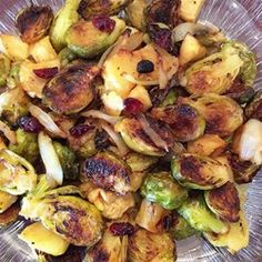 """Roasted Apples and Brussels Sprouts 