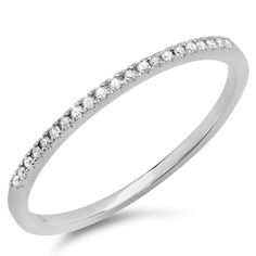 0.10 Carat (ctw) 10k White Gold Round Diamond Ladies Dainty Anniversary Wedding Band Stackable Ring 1/10 CT (Size 8)  $94